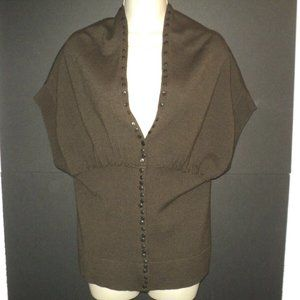 Worth Cardigan Sweater Size M Brown Short Sleeves